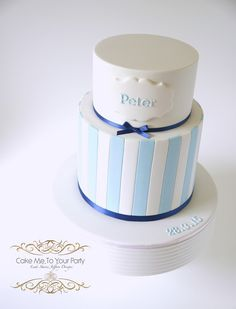https://flic.kr/p/vXeWDx | Boy's Christening/Baptism Cake | www.facebook.com/cakemetoyourparty In March we made Peter's Christening cake. Mum requested this cake for the celebration. Clean stripes always make a bold elegant statement for a boy, and the navy ribbon was a nice highlight. Three cakes in total: Spicy Date with vanilla buttercream, White Chocolate Mud with raspberry and lemon buttercreams, and a Chocolate Mud with light chocolate and raspberry swirl filling.
