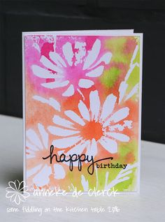 Some fiddling on the kitchen table: Watercolor Stamping with Stencils - plasma. Card Making Techniques, Embossing Techniques, Mixed Media Cards, Scrapbooking, Anna Griffin Cards, Easel Cards, Watercolor Techniques, Watercolor Cards, Cool Cards
