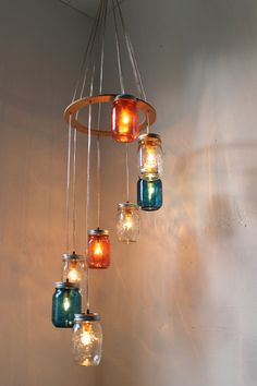 Can I do this myself? Red, White, Blue Mason Jar Lighting Chandelier Cascading Carousel Hanging Light - Rustic Industrial