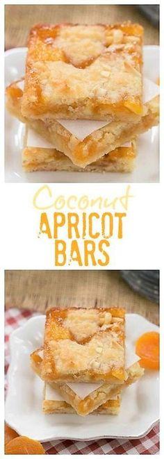Coconut Apricot Bars - Scrumptious layered bars with coconut. - Apricot recipesCoconut Apricot Bars - Scrumptious layered bars with coconut, almonds and apricot preserves Peach Pie Bars, Apricot Bars, Apricot Recipes, Raspberry Recipes, Apricot Ideas, Just Desserts, Delicious Desserts, Yummy Food, Unique Desserts