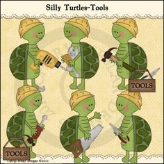 Silly Turtles Tools 1 - Whimsical Clip Art by Cheryl Seslar