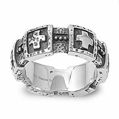 Polished Stainless Steel Mens Ring with Textured Cross Designs AMEX Jewelry. $12.99. Face Width: 9mm. Made with 316L Stainless Steel. Textured Square Crosses