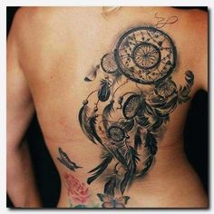 Dream Catcher Tattoo On Back - Large Dreamcatcher Design - Dream Catcher Tattoo: Dreamcatcher Tattoo Meaning, Ideas and Designs, Tattoos for Women Tattoo Son, Phönix Tattoo, Tattoo Hals, 3d Tattoos, Trendy Tattoos, Cute Tattoos, Body Art Tattoos, Girl Tattoos, Tattoos For Guys