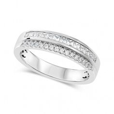 White Gold Carat Diamond Double Row Wedding Ring Take off already reduced lines with the code White Gold Eternity Rings, Ring Crafts, The Row, Wedding Rings, Engagement Rings, Diamond, Black Friday, Jewelry, Style