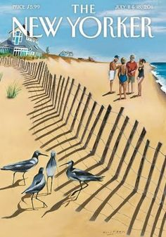 "Teaming up at the beach, love this new cover The New Yorker. Illustration ""Birds of a Feather"" by Mark Ulriksen The New Yorker, New Yorker Covers, Old Magazines, Vintage Magazines, Caricatures, Feather Painting, Fence Painting, Feather Print, Watercolor Painting"