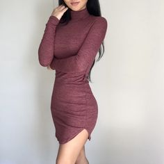 """""""Heather Brick Mini"""" Long sleeves, mock neck & deep curved hem to elongate your legs! Similar to my """"Winter Minis"""" & """"When in Rome Gray Mini""""Same fit & feel but I would say this is even more sturdy, double lined & holds you in all the right places even more. (Belt is included, its ok runs larger) only have a few in stock, & will NOT be restocked.   Polyester Rayon & Spandex Lining: Rayon & Spandex Longest(Neck to front hem) 33in Shortest: (Armpit to side hem) 20in Sizing: 0.5-1 inch apart (4…"""