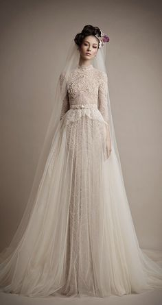 Ersa Atelier 2015 Lace Bridal Dress with Long Sleeves