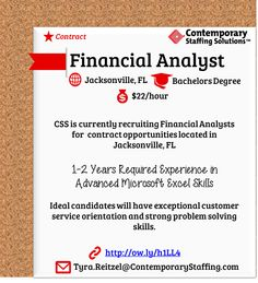 CSS Is #hiring Financial Analysts In Jacksonville, FL L $22/hr L Email