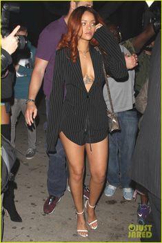 rihanna karim benzema hit nightclub together in hollywood 11 Rihanna rocks a pin. - rihanna karim benzema hit nightclub together in hollywood 11 Rihanna rocks a pinstripe ensemble whi - Estilo Rihanna, Mode Rihanna, Rihanna Street Style, Rihanna Riri, Rihanna Red Hair, Rihanna Outfits, Fashion Outfits, Rihanna Clothes, Rihanna Fashion
