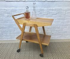 Vintage Remploy Wooden Drinks Trolley Bar Cart #341