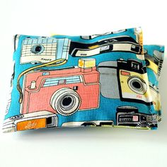 Organic Lavender Pillows in Retro Camera Print Blue Pink Orange Yellow Set of 2 Vintage Cameras by Minor Thread on Etsy