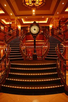 The clock in the main stairway of the Queen Victoria, the Cunard ship I went on a cruise on. Oh that sentence is horrible, I don't know how to start fixing it.