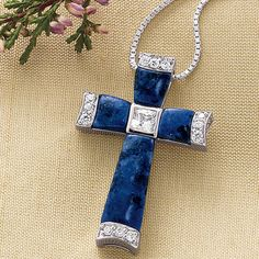 Devotion Lapis Cross Pendant and Chain - Furniture, Home Decor and Home Furnishings, Home Accessories and Gifts   Expressions