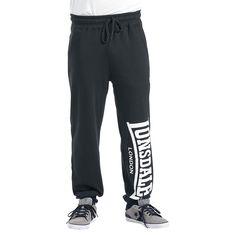 "#Pantaloni blu ""Logo Large"" di #LonsdaleLondon con ampia scritta Lonsdale bianca stampata su una gamba. 80% cotone, 20% poliestere."