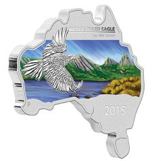 Australia's largest bird of prey swoops over an alpine wilderness | Australian Map Shaped Coin Series 2015 Wedge-tailed Eagle 1oz Silver Coin