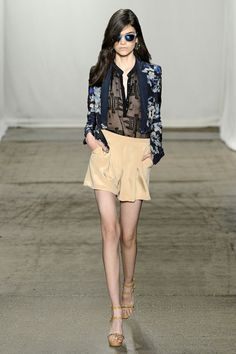 Isabella in lapis Hawaiian floral jacket, black embroidered chiffon Henley, nude silk shorts #SS13