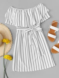 Striped striped A-line dress with belt -French Romwe Gestreiftes Kleid in A-Linie mit Gürtel – French Romwe – Cute Girl Outfits, Teen Fashion Outfits, Cute Casual Outfits, Cute Summer Outfits, Cute Fashion, Outfits For Teens, Pretty Outfits, Pretty Dresses, Stylish Outfits