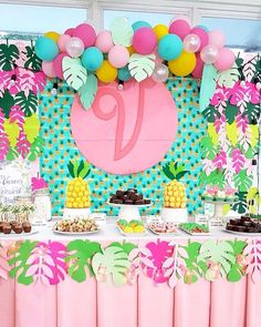 We love the color combination, balloons and diy paper leaves of our Dessert buffet styling for Vanna! Jungle Theme Birthday, Luau Birthday, Birthday Party For Teens, Birthday Party Themes, Flamingo Party, Flamingo Birthday, Aloha Party, Luau Party, Girl Birthday Decorations