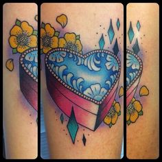 heart shaped box traditional style tattoo