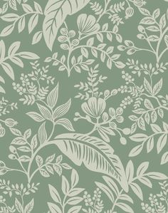 "Overview Tropical leaves and greenery are layered to create Canopy, a lush, two-color print that is both modern and sophisticated. This wallpaper is screen printed and comes in 27 inch rolls with a 25.25 inch repeat. Measurements• Each roll is 27"" wide x 27' long• Repeat: 25.25"", straight Additional Notes • 2 week lead time• York Wallcoverings is the oldest and largest producer of wallpaper in the United States. We partnered with them for our wallpaper collection because of their commitment… Die Wallpaper, Forest Wallpaper, Blog Backgrounds, Green Backgrounds, Tropical Leaves, Tropical Plants, Plains Background, Rifle Paper Co, Backgrounds"