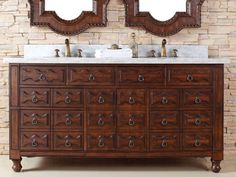 72 Inch Castilian Double Sink Bathroom Vanity