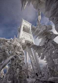 Natural ice sculptures on mountain in Slovenia a