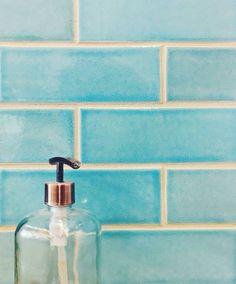 The colour of these Blue Bell subway tiles from @mercurymosaics   #handmade #tiles #blue #subway #bathroom #decor #interiordesign #home