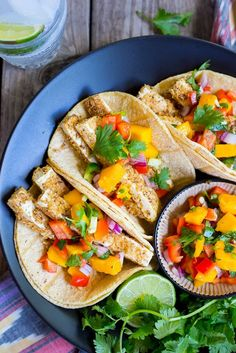 Tortilla Chip Crusted Tofu Tacos with Mango Salsa. The perfect vegetarian tacos for your next taco night! {gluten free, vegan}