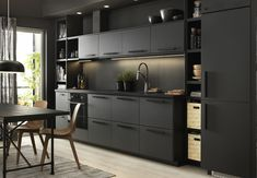 IKEA furniture and home accessories are practical, well designed and affordable. Here you can find your local IKEA website and more about the IKEA business idea. Black Ikea Kitchen, Dark Grey Kitchen Cabinets, Black Kitchens, Kitchen Cupboards, Black And Grey Kitchen, Kitchen Soffit, Cream Cabinets, Kitchen Island, Grey Kitchen Designs