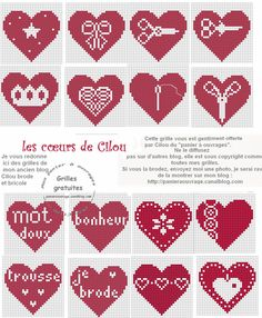many many little hearts. Free Cross Stitch Patterns