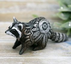 Cute raccoon Figurine Animal Sculpture by Evgeny Hontor, Totem polymer clay figures for Home decor, polymer clay animal for collecting. Painted and unpainted Animal Sculpture gifts for dragon lovers. Look at the best collection of 800+ miniatures of fantasy creatures, beasts and aliens #raccoon