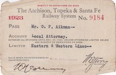 1920s train ticket