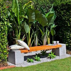 concrete and wood garden bench