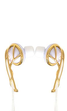FRENDS Ella B Earbuds in Gold & White   REVOLVE
