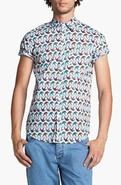 Topman Swallow Print Woven Shirt available at #TMNordstrom