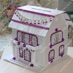 Казна для денег Cвадебный домик белый фиолетовый
