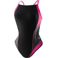 A sleek design and durable fabric make up this Relaunch Swimsuit. Comprised of polyester, spandex and ProLT™ fabric, this suit offers superior support and comfort throughout your swim. The flyback styling and thin straps allow a free range of motion with every stroke in the water. Sport the Speedo® Women's Relaunch Flyback Swimsuit at your next race and launch past the competition.