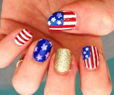 Or go for the gold with a touch of shine. | 36 Amazing DIY-Able Manicures For The 4th Of July