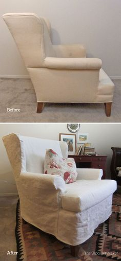 Simple, loose fit slipcover made from 12 oz. Brazil Linen from InstaLinen in color Off-White.