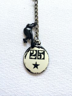 Number 25 Keychain - Industrial Keychain - 3 inches Small Clasp - Star Black Bird Unique Gift on Etsy, $5.00