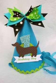 Items Similar To Puppy Love Doxie Dog Birthday Party Hat With In Sparkle Blue Chocolate Brown And Green Polka Dot On Etsy
