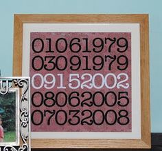 DIY Important Dates Wall Art. Scan pretty scrapbook paper and save as a picture. Open in powerpoint, photoshop or picnik and add your dates. Print on photo paper and you are finished! Add your birthdays and anniversary, etc. Cheap Gifts, Diy Gifts, Craft Projects, Craft Ideas, Fun Ideas, Project Ideas, Creative Ideas, Important Dates, Diy Arts And Crafts