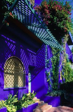 purple house with arched window