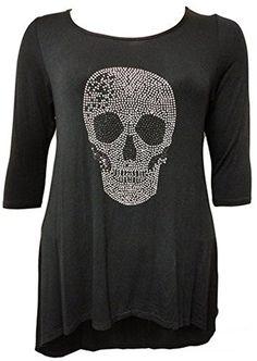 d1289bb3504 Women s Plus Size Skull Tunic 3 4 Sleeve