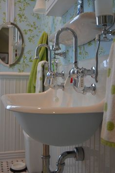 When we first renovated the children's bathroom we installed a trough sink with two faucets. I'd seen a similar sink in a magazine and . Farmhouse Bathroom Sink Faucets, Bathroom Sinks For Sale, Vintage Bathroom Sinks, Small Bathroom, Industrial Bathroom, Bathroom Vanities, Bathroom Fixtures, Bathroom Ideas Vintage Country, Bathroom Wall