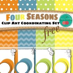 A set of Coordinating Clip Art for all the seasons.   There are   12 digital papers - Polka Dots, Chevron, Gradient Colors 8 borders - 1 per season with white and transparent fill 12 circles - 2 designs per season - one of them with two fills  You can use this to make covers or decorations for summer, fall, spring or winter or use them for any other occasion.