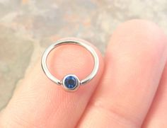 16 Gauge Sapphire Blue Cartilage Hoop Earring Tragus