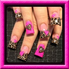 Pink and leopard - Nail Art Gallery. too wide but pretty. Sexy Nails, Hot Nails, Fancy Nails, Bling Nails, Crazy Nails, Hair And Nails, Stiletto Nails, Fabulous Nails, Gorgeous Nails
