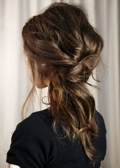 messy twisted ponytail.