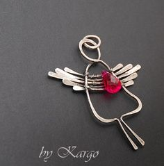 hammered wire angel pendant
